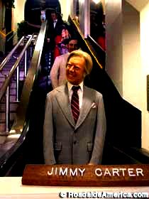 President Carter on the escalator.