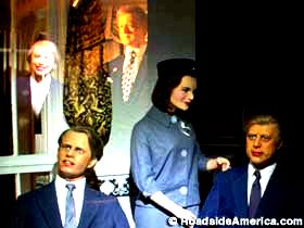 Bill and Hillary look in on RFK, Jackie, and JFK.