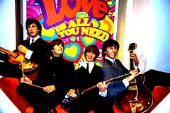 Beatles wax figures in Madame Tussauds museum. London. Marie Tussaud was born as Marie Grosholtz in 1761 Stock Photos